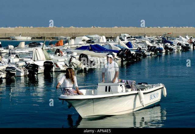 boats moored in the Conero marina in Le Marche Italy - Stock Image