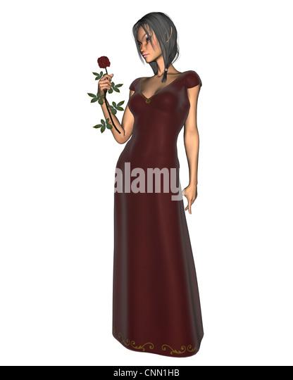 Elf Woman in Red Velvet Dress - Stock Image