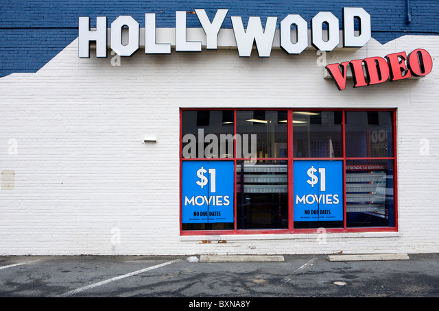 A closed Hollywood Video rental store.  - Stock Image