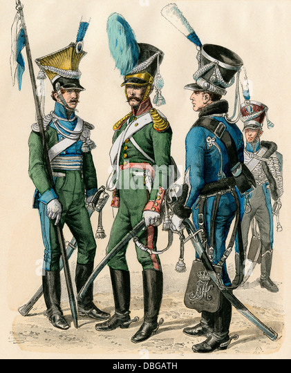 Bavarian military uniforms, early 1800s: lancer, cavalryman, and hussar (left-right). - Stock Image