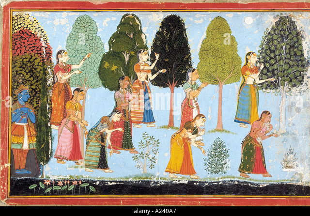 A Gopi searching for Krishna. Mewar, Rajasthan, India. Dated: 1710 A.D. Original size: 24.8 x 39.3 cm. - Stock Image