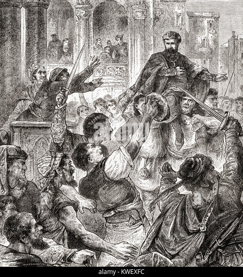 Election of a doge in Genoa, Italy.  From Ward and Lock's Illustrated History of the World, published c.1882. - Stock Image