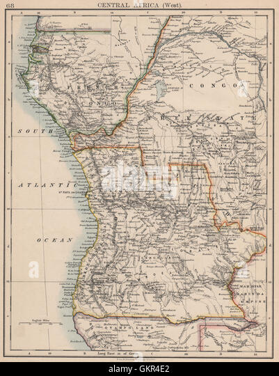 COLONIAL CENTRAL AFRICA. French Congo Free State Portuguese West Af. , 1895 map - Stock-Bilder