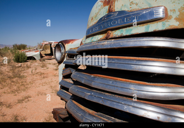 old car wreckage at solitair, namibia - Stock Image