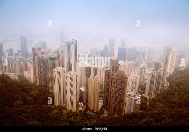 Aerial view of skyscrapers in a city, Hong Kong Island, Hong Kong, China - Stock-Bilder