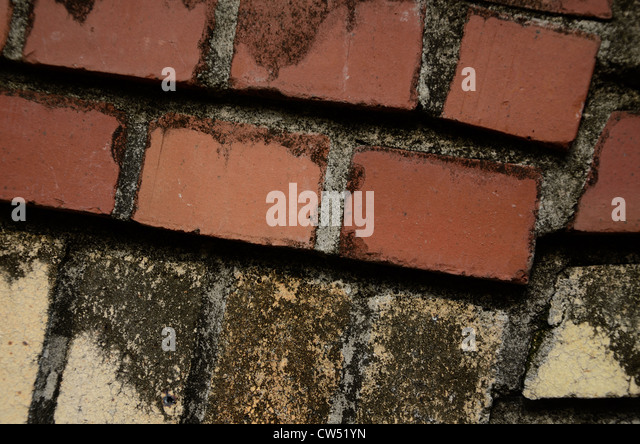 Rough mix of bricks that might serve a great layer or textured background in creative photography editing - Stock Image