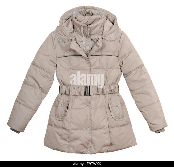 Women's lightweight down jacket on a white background - Stock Image