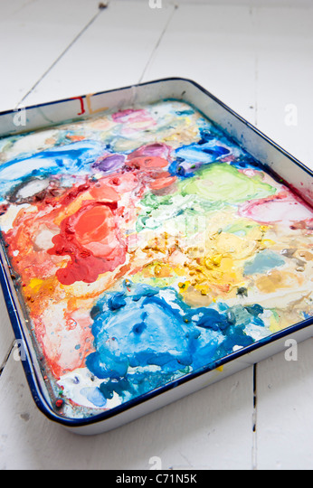 watercolor palette in an artist's studio - Stock-Bilder