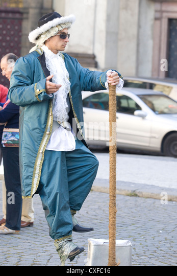 Street Performer on the streets of Prague - Stock Image