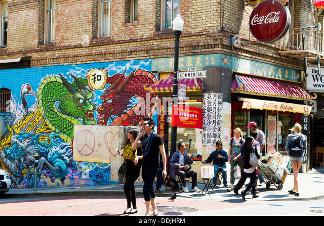 Chinatown street scene showing the contrast between ancient and modern cultures. - Stock-Bilder