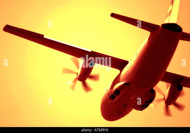 Propeller cargo aircraft - Stock Image