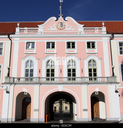 The Estonian Parliament building (Riigikogu) in Tallinn, Estonia. - Stock Image