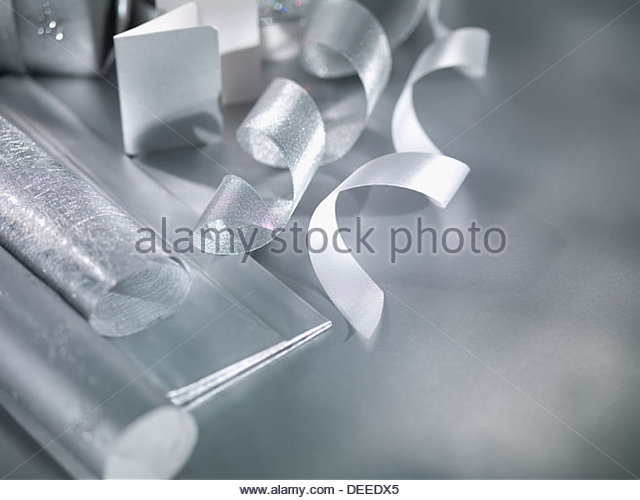 Wrapping paper and ribbon - Stock Image