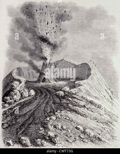 Vesuvius erupting - Stock Image