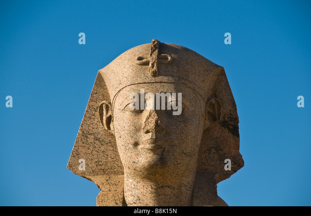 Sphinx portrait closeup broken nose at Pompeys Pillar Alexandria Egypt historic monument attraction iconic egyptian - Stock Image