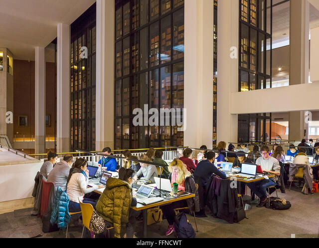 Study area with the King's Library behind, The British Library, London, England, UK - Stock Image