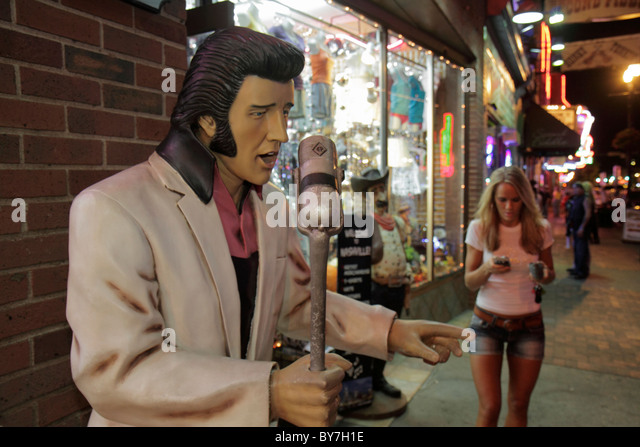 Nashville Tennessee Music City USA downtown Lower Broadway business strip store window souvenir shopping Elvis Presley - Stock Image