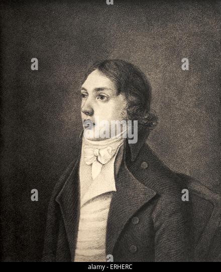 Samuel Taylor Coleridge after the portrait by Robert Hancock, 1796. 21October 1772 - 25 July 1834 - Stock-Bilder
