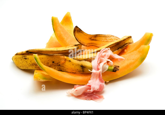 Food waste on a white background - Stock Image