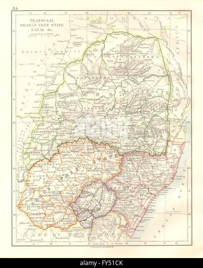 SOUTH AFRICA. Orange Free State. Natal. Basutoland. Transvaal, 1920 old map - Stock Image