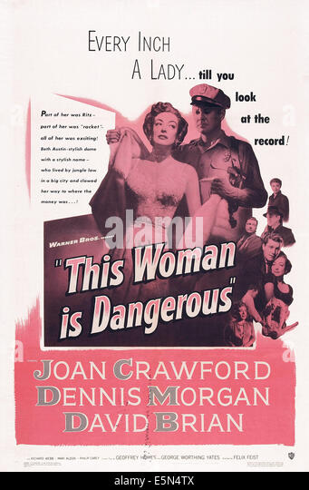 THIS WOMAN IS DANGEROUS, US poster, Joan Crawford, David Brian, 1952 - Stock Image