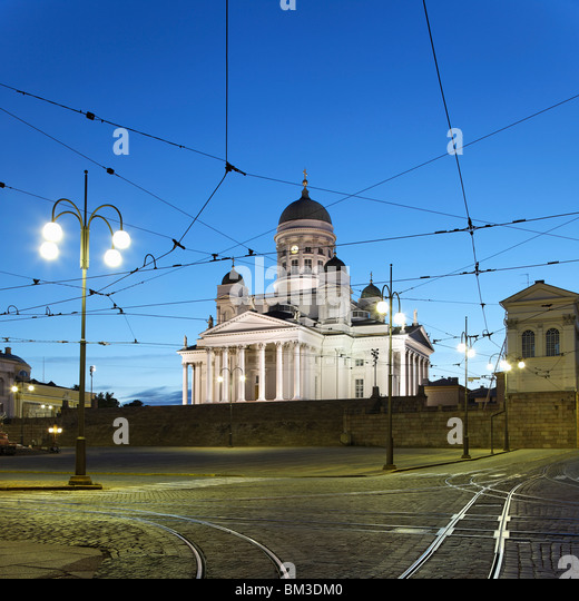 Helsinki Cathedral and Senate Square - Stock Image