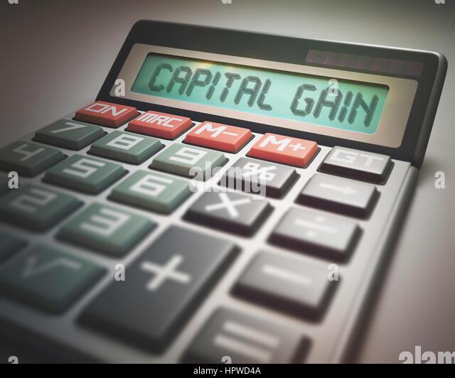 Calculator with the words capital gain, illustration. - Stock-Bilder