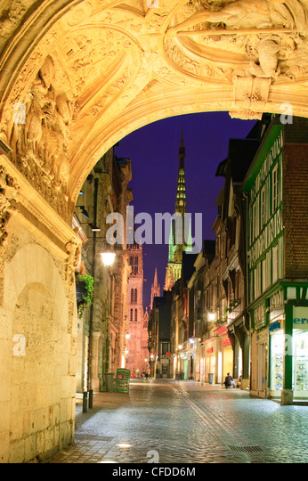 Rue du Gros Horloge Rouen Seine-Maritime Haute-Normandie France at dusk - Stock Image