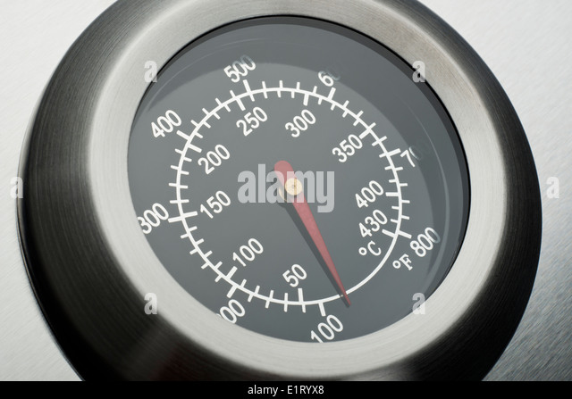 Temperature gauge or thermometer on a barbecue - Stock Image