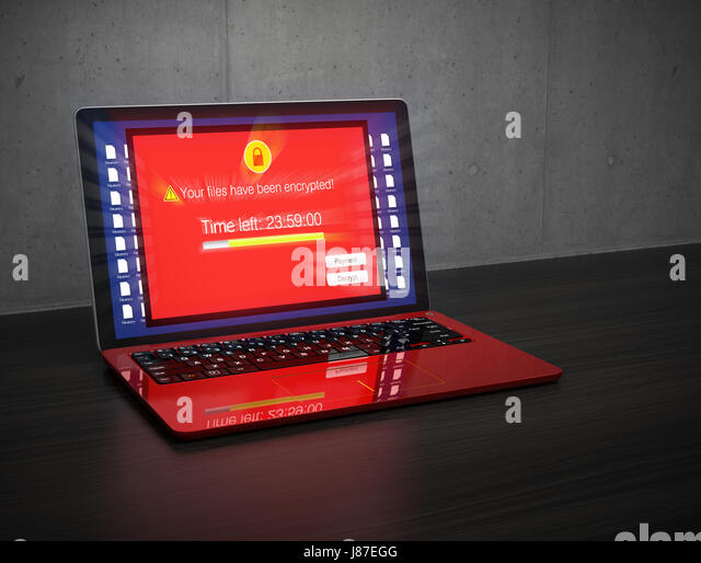 Screen of laptop computer showing alert that the computer was attacked by ransomware. 3D rendering image. - Stock Image