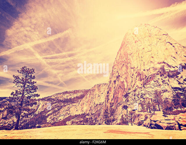 Vintage stylized nature mountain background, Yosemite National Park, USA. - Stock Image
