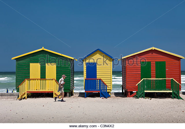 South Africa, Western Cape, Muizenberg, beach huts. - Stock Image
