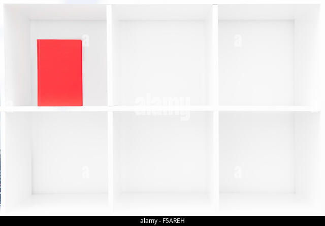 Red book vertical emtpy cover on cubical white bookshelf with copy space - Stock Image