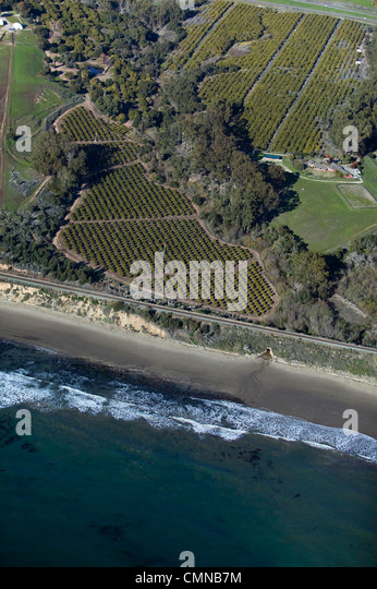 aerial photograph of coastal farming Central Coast California - Stock Image