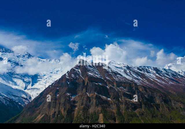 Landscape Snow Mountains Nature Viewpoint.Mountain Trekking Landscapes Background. Nobody photo.Asia Travel Hikking - Stock Image