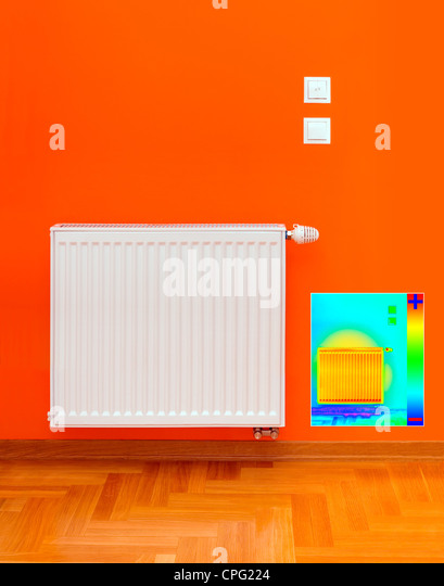 Thermal Image of Radiator Heater with Heat Loss - Stock Image