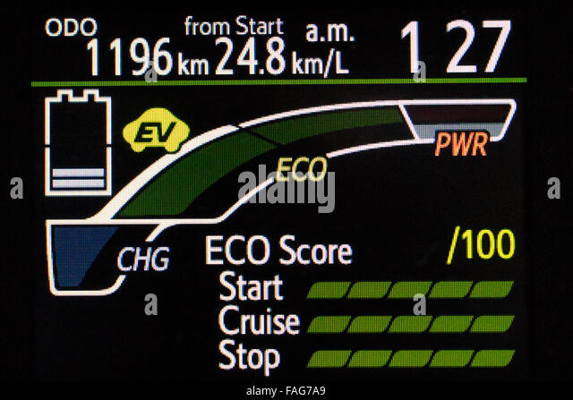 The Engine And Battery Display Panel On A Fuel Efficient Hybrid Car Fag A on Chevy Duramax Firing Order