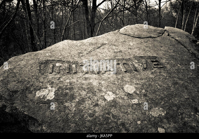 USA, Massachusetts, Gloucester, Dogtown rocks with inspirational words, Initiative - Stock Image