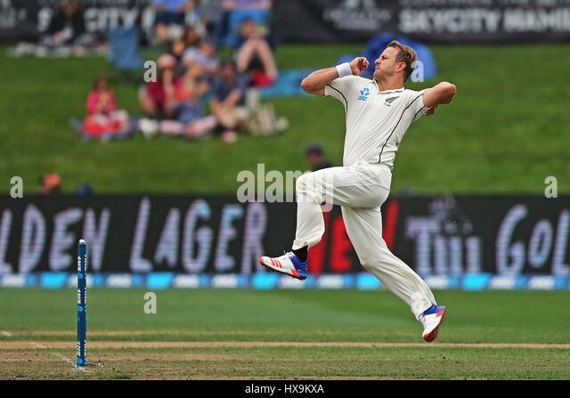 Hamilton, New Zealand. 25th Mar, 2017. March 25th 2017, Hamilton, New Zealand; Blackcaps Neil Wagner bowling during - Stock-Bilder