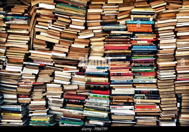 BARCELONA, SPAIN - JANUARY 5: Bookshelves on street market on January 5, 201 in Barcelona, Spain. Outdoor book markets - Stock Image