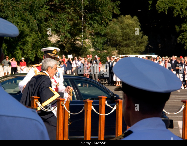 The Hon Judge John Alcantara CBE the Mayor of Gibraltar at the  Tercentenary Celebrations 300 years of British Rule - Stock Image