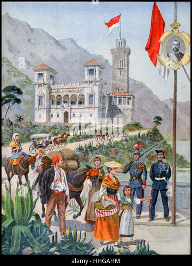 Illustration showing the Monaco Pavilion, at the Exposition Universelle of 1900 - Stock Image