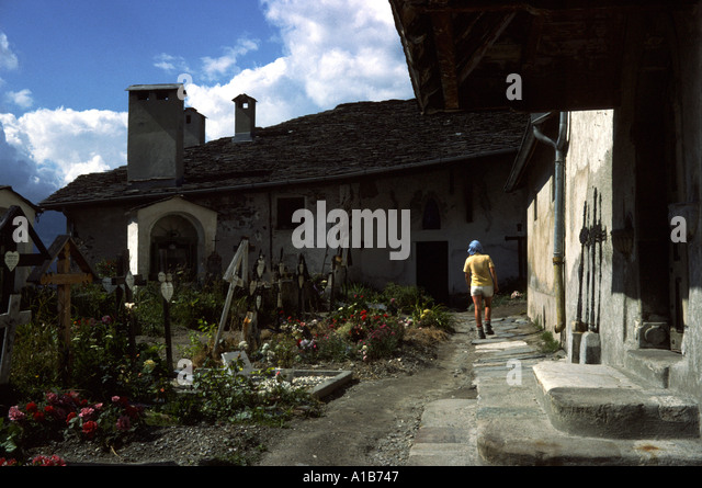 The church yard at Peisey Nancroix in the French Alps, France - Stock Image