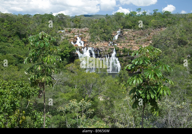 Cachoeira do Poço Encantado, Enchanted Pond Waterfall, Chapada dos Veadeiros, Veadeiros Tableland, Goias, Brazil - Stock Image