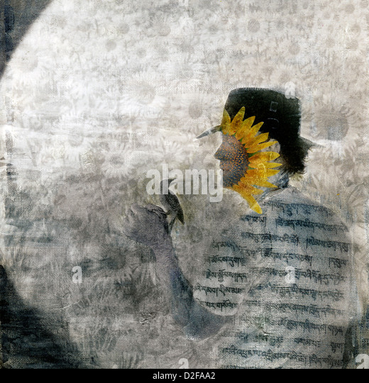 Mystical sunflower man and bird in the garden. Photo based illustration. - Stock Image