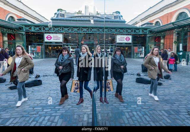 London, UK.  16 April 2016.  The eastern façade of the world-renowned Market Building in Covent Garden is clad - Stock Image