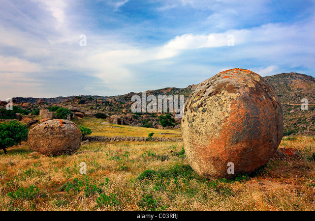 Surreal landscape with huge, round and smooth rocks close to Volax (or 'Volakas') village, Tinos island, - Stock Image