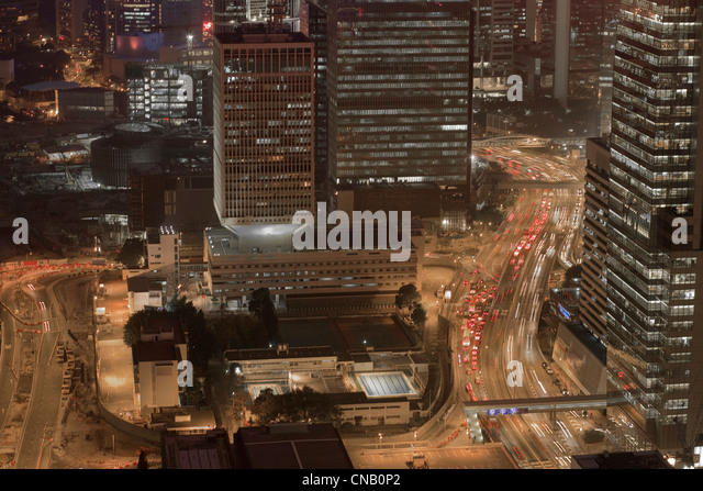 Aerial view of city center at night - Stock Image