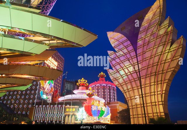 Casinos at night; Macau; China - Stock Image