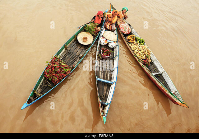 Indonesia, South Kalimantan province, Lok Baintan, Floating Market - Stock-Bilder